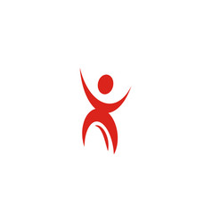 Isolated abstract red color human body in motion vector