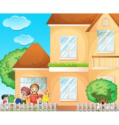 Kids doing chore at home vector