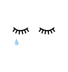 lashes with tear on white vector image