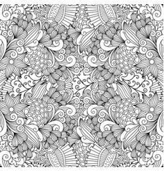 linear swirls and leaves doodle pattern vector image
