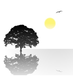lone tree with reflection vector image vector image