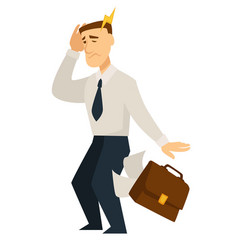 Man feeling bad person holding head headache agony vector