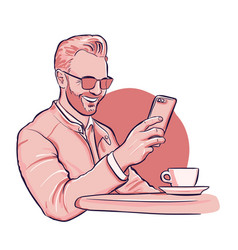 man is havong a video call on smaptphone vector image