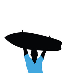 man silhouette with surfboard in hand vector image