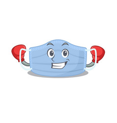 Mascot surgical mask as a sporty boxing athlete vector