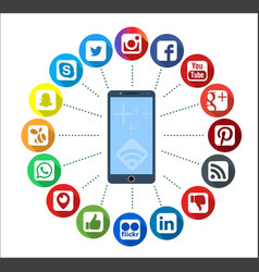 Mobile telephone with social network infographic vector
