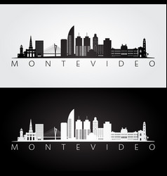 montevideo skyline and landmarks silhouette vector image
