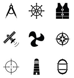 navy icon set vector image
