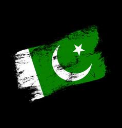 pakistan flag grunge brush background old brush vector image