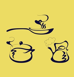 pan kettle and pot vector image