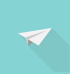paper airplane icon in flat style with shadow vector image