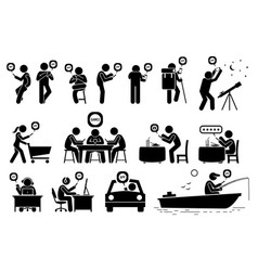 people using smartphone app for various vector image