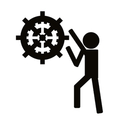 person with gears icon vector image