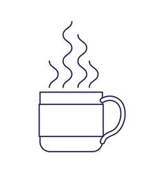 purple line contour of hot coffee cup vector image