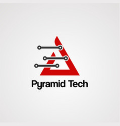 pyramid tech logo icon element and template for vector image