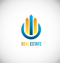 Real estate building skyscraper logo icon design vector