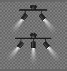 realistic 3d black spotlights set vector image