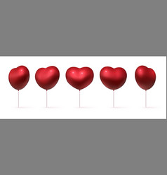 realistic balloons 3d red heart shaped holiday vector image