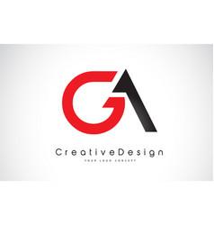 Red and black ga g a letter logo design creative vector