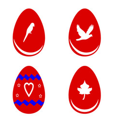 red easter eggs with shapes vector image