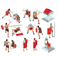 Rome gladiators icon set vector
