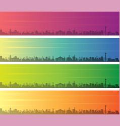 San antonio multiple color gradient skyline banner vector