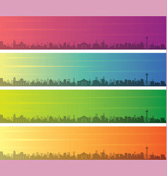 san antonio multiple color gradient skyline banner vector image