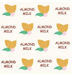 seamless pattern almond milk vector image