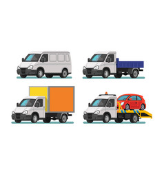 set of delivery cars and tow truck vector image
