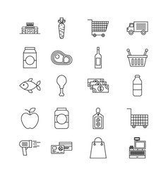 set of differents products supermarket food drink vector image