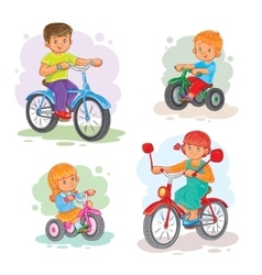 Set of icons small children on bicycles vector