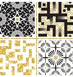 Set of Oriental Patterns with Golden Elements vector image