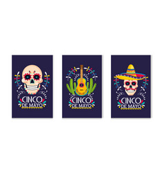 set traditional mexican cards to holiday event vector image