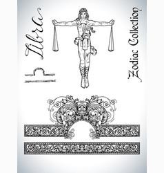 set with libra zodiac sign and mascot drawing vector image