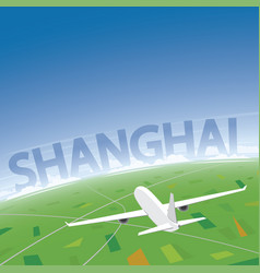 Shanghai flight destination vector