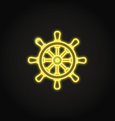 Ship steering wheel icon in glowing neon style vector