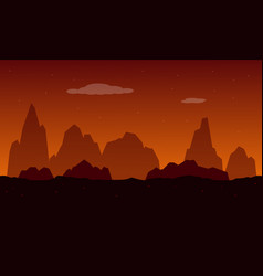 Silhouette cliff for game background vector