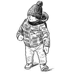 Sketch little boy going for a stroll vector