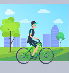 summer day card with cheerful cyclist on bike vector image