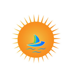 sun and boat beach vacation travel concept logo vector image