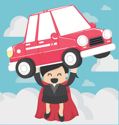 super business woman carrying carconcept car loans vector image