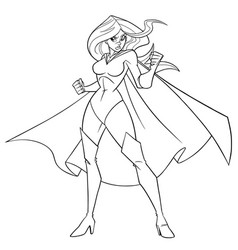 superheroine battle mode line art vector image