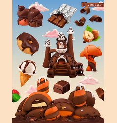 sweet factory chocolate castle cartoon 3d icon vector image