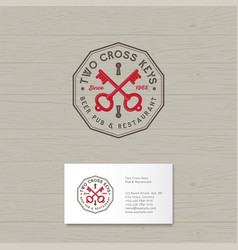 Two cross keys pub logo restaurant vector
