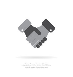two handshake flat icon for apps and websites vector image