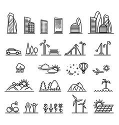 Urban line icons vector