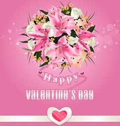 Valentines day background with flower bouquet vector