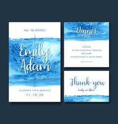 Wedding invitation watercolor design with light vector