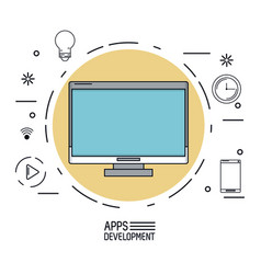 white background poster of apps development with vector image