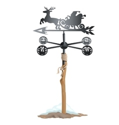 Wrought iron weathervane in form of Santa sleigh vector